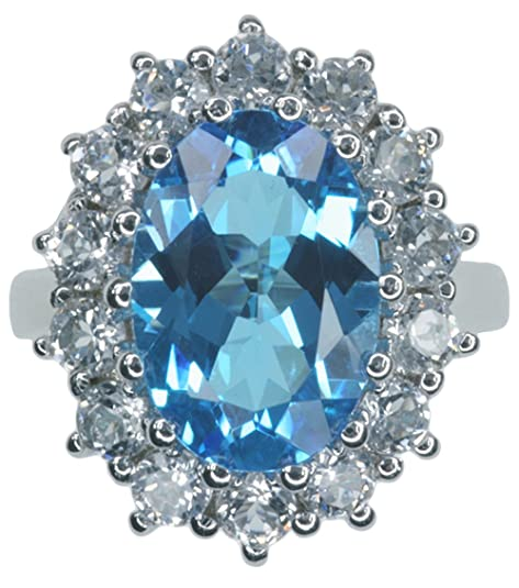 Swiss Blue Topaz Gemstone Replica Diana Kate Engagement Sterling Silver Ring