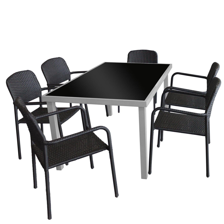 7tlg. Gartengarnitur - Glastisch Silbergrau 150x90cm mit schwarzer Tischglasplatte + 6x Rattan Stapelstuhl Schwarz mit hochwertiger Polyrattanbespannung - Sitzgarnitur Sitzgruppe Gartenmöbel Terrassenmöbel Set
