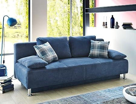 Funktionssofa Carlo 203x97 cm Mikrofaser blau Schlafsofa Sofa Couch Schlafsofa Wohnzimmer
