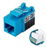 LINKOMM 25-Pack RJ45 Cat6 Slim Profile UTP Unshielded Keystone Jack with Punch-Down Palm Holder (Blue) (Color: Blue, Tamaño: 25 Pack)