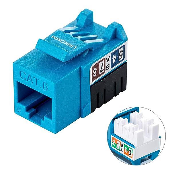 LINKOMM 50-Pack RJ45 Cat6 Slim Profile UTP Unshielded Keystone Jack with Punch Down Palm Holder (Blue) (Color: Blue, Tamaño: 50 Pack)