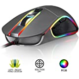 KLIM AIM Chroma RGB Gaming Mouse - NEW - PRECISE - Wired USB - Adjustable 500 to 7000 DPI - Programmable Buttons - Comfortable for all hand sizes - Ambidextrous Excellent grip Gamer Gaming (Color: Grey)