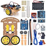 VKmaker New Avoidance tracking Motor Smart Robot Car Chassis Kit Speed Encoder Battery Box 2WD Ultrasonic module with tutorial CD (Color: Black)