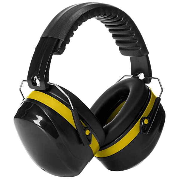 AmazonBasics Noise Reduction Safety Earmuffs Ear Protection, Black and Yellow (Color: Black and Yellow)