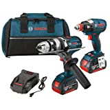 Bosch CLPK224-181 18-volt Lithium-Ion 2-Tool Combo Kit with 1/2-Inch Hammer Drill/Driver, Impact Driver, 2 Batteries, Charger and Contractor Bag
