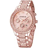 Fanmis Luxury Iced Out Pave Floating Crystal Quartz Calendar Rose Gold Stainless Steel Watch (Tamaño: men's standard)