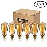 Vintage Edison Bulbs, Elfeland 40w Dimmable Squirrel Cage Filament Edison Bulbs ST58 Antique Teardrop Design Retro Pendant Lights for Restaurant Home Office E26/E27 110-130V (6 Pack) (Color: St58 40w 6pack, Tamaño: 6pack)