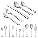 45-Piece Silverware Set with Serving Pieces, LIANYU Flatware Set Service for 8, Stainless Steel Cutlery for Kitchen Hotel Restaurant Wedding Party, Mirror Finish, Dishwasher Safe (Color: 45-Piece Flatware Set, Tamaño: 45-Piece Set)