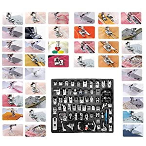 YEQIN 62pcs Domestic Sewing Machine Presser Foot Feet Set Multi-Functional Presser Foot Set for Singer, Brother, Janome,Kenmore, Babylock,Elna,Toyota,New Home, Etc(62 PCS) (Tamaño: 62 PCS)