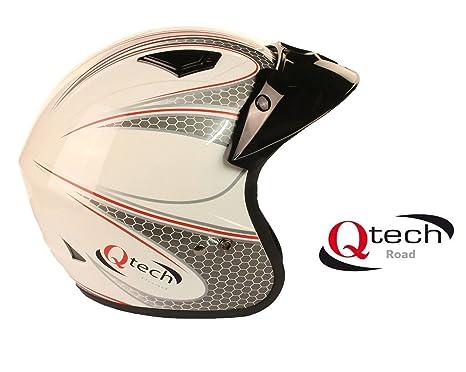 Qtech - Casque jet de moto/trial/scooter - noir, blanc, rouge - Blanc - S (55-56 cm)