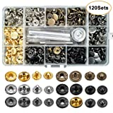 120 Sets Snap Fasteners Kit, 12.5mm Metal Snap Buttons Press Studs with 4 Pieces Fixing Tools, 6 Color Clothing Snaps Kit for Thin Leather, Jacket, Jeans Wear, Bracelet, Bags (Color: 6 Color)