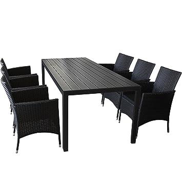 7er Set Gartenmöbel Gartentisch mit Polywood Tischplatte 205x90cm Schwarz 6x Rattansessel mit Polyrattanbespannung inkl. Sitzkissen Gartengarnitur