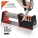 Landtaix Upgrade Kitchen Chef Knife Sharpener Scissors 304 Stainless Steel handle,3-Stage Knife Sharpening Tool Helps Repair,Restore The Most Professi