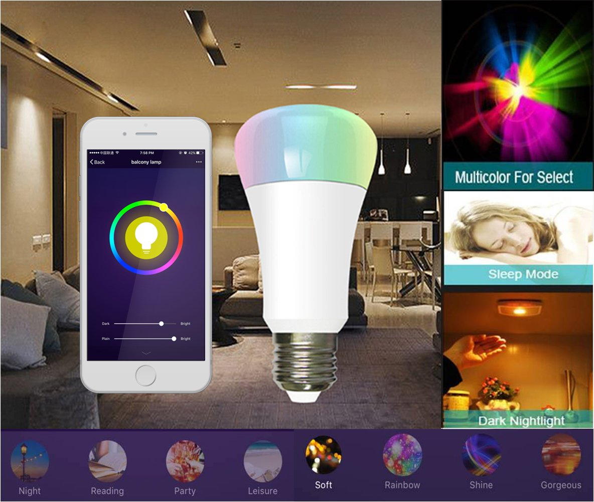 E27/E26 Smart LED Light Bulbs, CXY WiFi APP-Smartphone controlled LED Light Bulbs, Multicolor, Dimmable, Works with iPhone, iPad, Apple Watch, Android Phone and Tablet , 60-Watt Equivalent