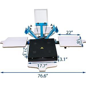 VEVOR Screen Printing Press 3 Color 1 Station Screen Printing Machine with Dryer Single Wheel Silk Screen Printing Kit Removable Pallet Screen Printing Kit for T-Shirt DIY Printing