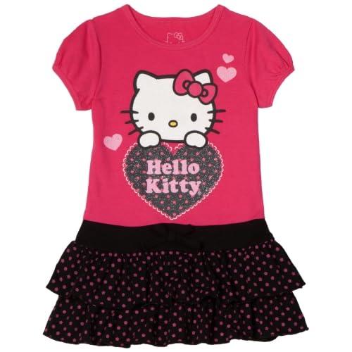 Hello Kitty Little Girls Knit Dress With Polka Dot Accents, Fuschia Purple, 2T