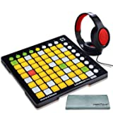 Novation Launchpad Mini Ableton Live Controller MK2 Bundle W/Stereo Headphones + Fibertique Cleaning Cloth (Tamaño: Basic)