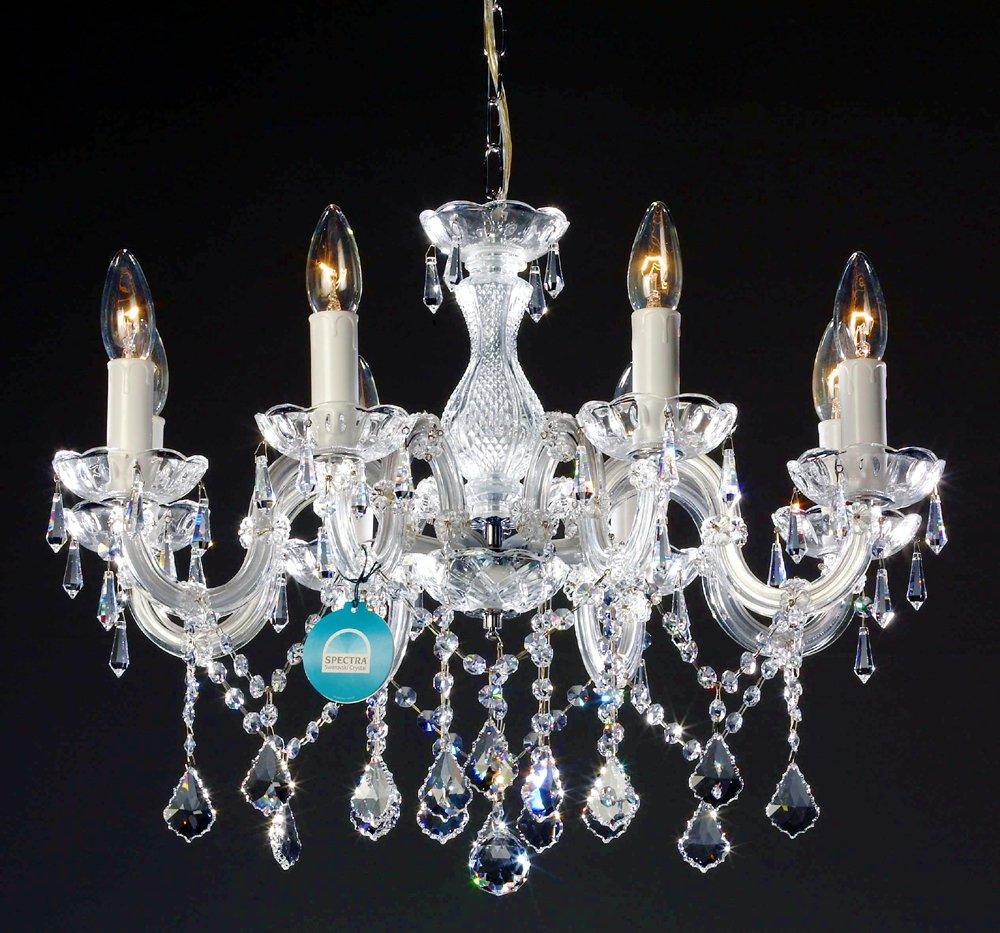 8 Arm Kronleuchter gefertigt mit SPECTRA® Crystal von SWAROVSKI silberfarben  BeleuchtungRezension