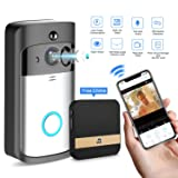 GJT Smart Video Doorbell Wireless Home WIFI Security Camera With Indoor Chime, 8G SD Card, Free Cloud Service, 2 Batteries, 2-Way Talk, Night Vision, PIR Motion Detection, APP Control for IOS Android (Color: Silver)