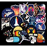 Water Bottle Stickers Universe NASA Stickers Pack 100 Pcs Space Explorer Stickers Astronaut Decals for Water Bottle Laptops Ipad Cars Luggages (Color: NASA)