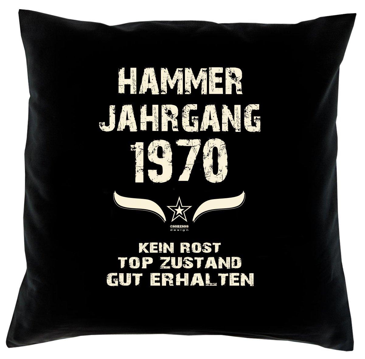 Cooles – Fun – Kissen – Sitzkissen – Zum 46. Geburtstag – Hammer Jahrgang 1970 Farbe: Schwarz – Größe: 40 x 40 cm kaufen
