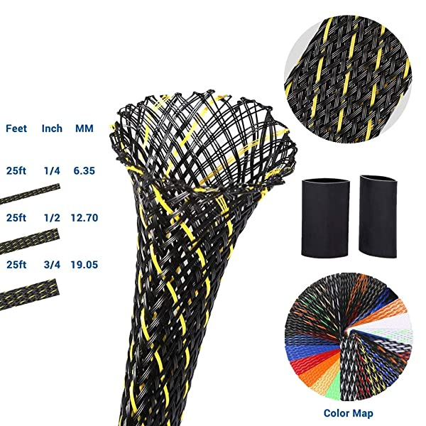 PET Expandable Braided Sleeving 0.5 Inch Flexo Cable Sleeve Braided Sleeve for Braided Wire Sleeve Management Cord Protector 25 FT BlackYellow Cable Sleeve (Color: BlackYellow, Tamaño: 25Ft 0.5inch)