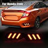 Allinoneparts Honda Civic 10th 2016 2017 2018 LED Back Bumper Light Rear Lights Lamp Kit (not fit the Hatchback) (Color: LED Back Bumper Light)