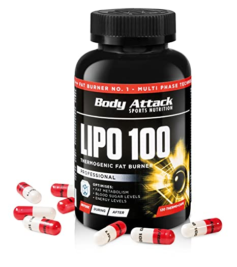 Body Attack LIPO 100 ® Fatburner, 120 Kapseln + 2 Probierdosen Lipo 100 (je 6 Proben)