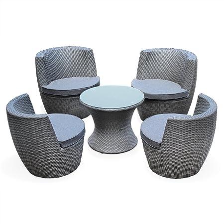 Alice's Garden - Salon de jardin encastrable et empilable en résine tressée - Bologna - Gris - coussins gris chiné en acrylique - 4 places - une petite table ronde et 4 fauteuils