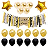 Wild One Birthday Decorations 1st Baby Girl/Boy Birthday Baby Shower Party Supplies Gold Black Confetti Balloons Kit SG046 (Color: Happy Birthday D)