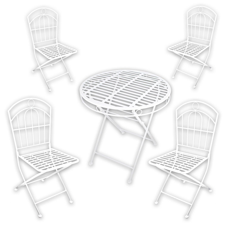 """Metall Gartenmöbel SET – 1x Tisch 4x Stuhl """"White Spirit"""" in weiß lackiert für indoor und outdoor günstig bestellen"""