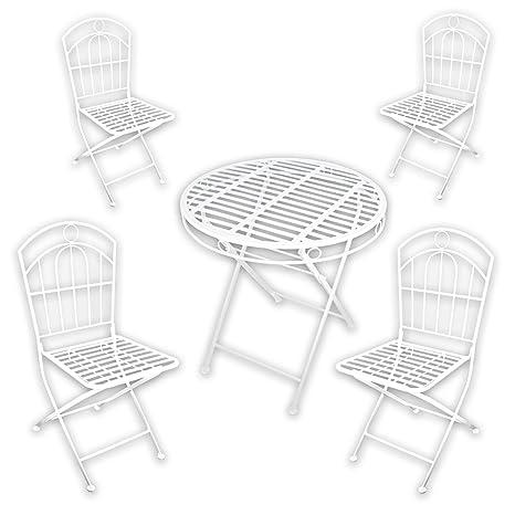 """Metall Gartenmöbel SET - 1x Tisch 4x Stuhl """"White Spirit"""" in weiß lackiert fur indoor und outdoor"""