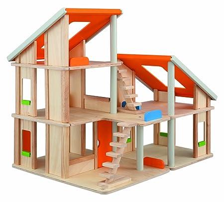 Plan Toys - Jouet en bois - Maison de poupées géante, avec 2 bâtiments en bois sans les meubles