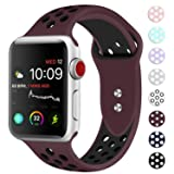 Booyi Sport Band for Apple Watch 38mm 40mm 42mm 44mm, Sport Bands Soft Silicone Wristband Replacement Compatible for iWatch Apple Watch Series 4,3,2,1 Nike+,Sport,Edition-S/M M/L (Color: Wine Red/Black, Tamaño: 38mm/40mm-M/L)