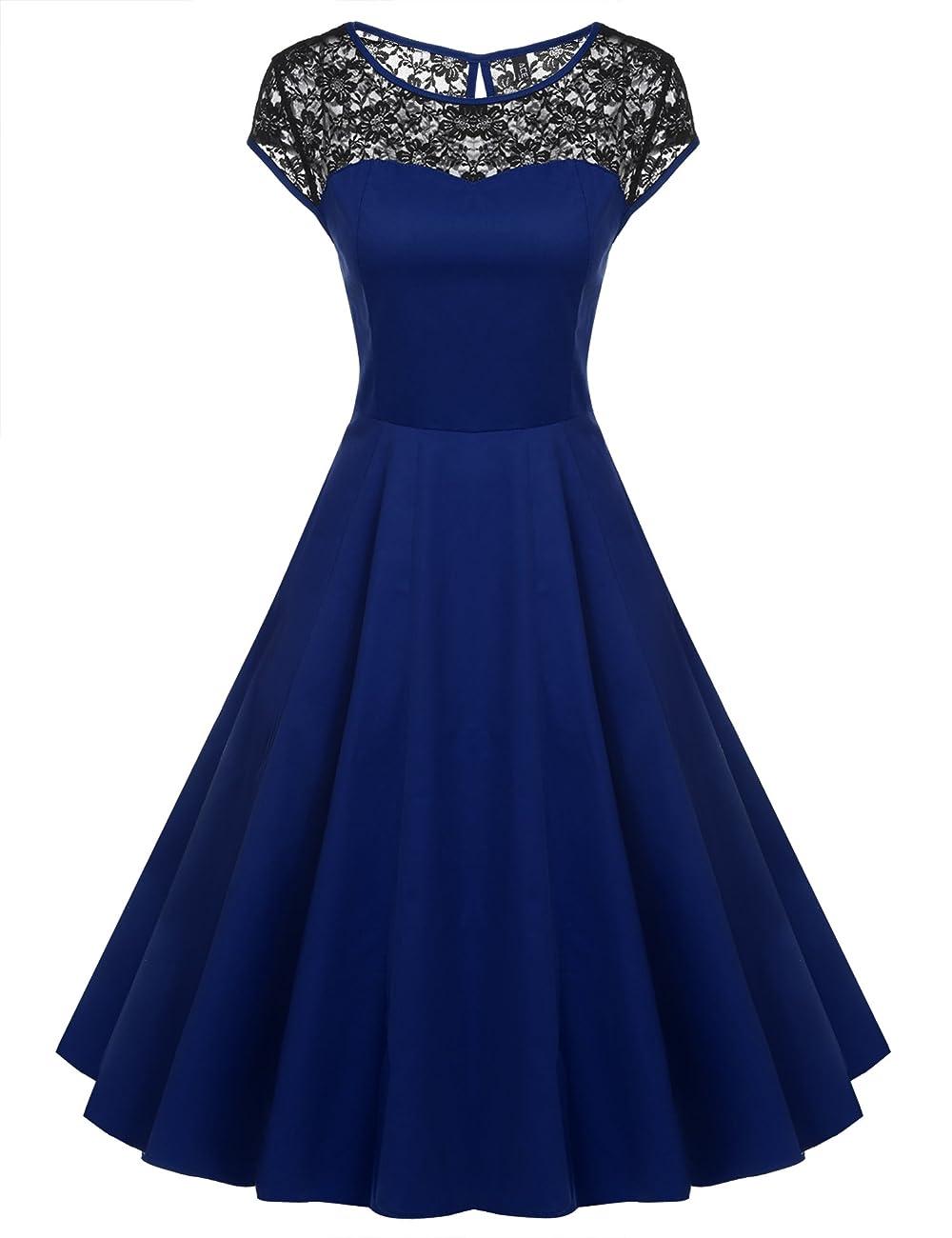 ACEVOG Women's Lace Crochet Sleeveless Cotton Vintage Tea Dress 0