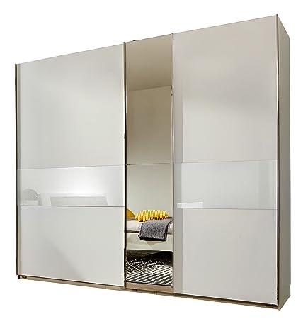 fresh to go 646842 Schwebeturenschrank 250 x 218 x 65 cm, Front und Korpus alpinweiß / Absetzungen Glas weiß und Spiegel