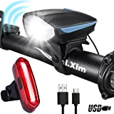 DARKBEAM USB Super Bright Bike Light Set Rechargeable Waterproof LED Bicycle Horn Headlight Taillight Lights Front and Rear Easy to Install Cycling Safety Commuter Best for Mountain Road (Color: Blue)