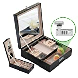 Combination Lock Women Travel Jewelry Box Organizer with Large Mirror 2 Trays 23 Separate Compartments Black (Color: Black)