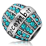 JMQJewelry Birthday Charms Bead For Bracelets (Turquoise, December Birthstone)
