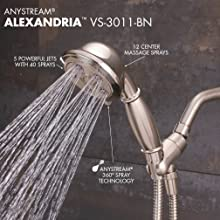 Speakman VS-3011-BN Alexandria Anystream High Pressure Handheld Shower Head with Hose, Brushed Nickel