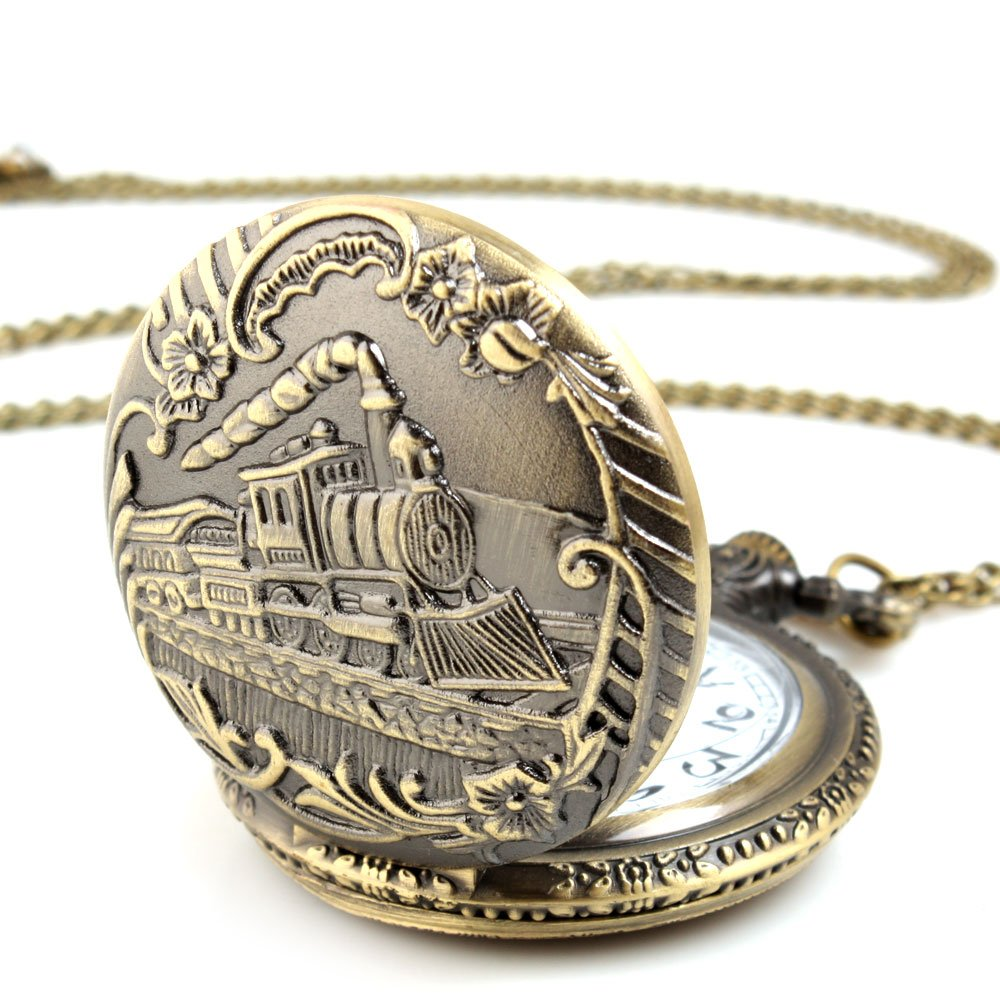 ALIENWOLF Unisex Antique Case Vintage Brass Rib Chain Quartz Pocket Watch 0