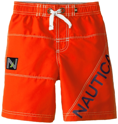 Nautica Little Boys' Fashion Swim Trunks, Neon Orange, Large front-1017381