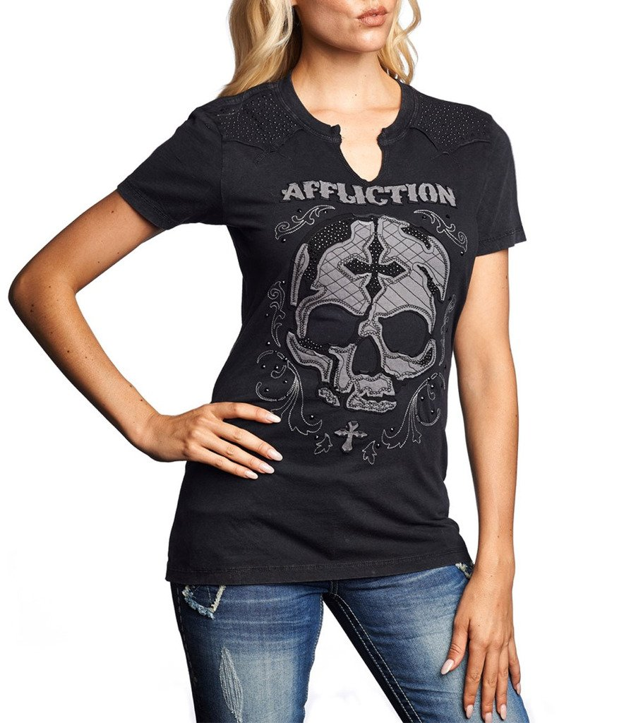 Affliction Women Western Tee Skull Cross Eagle Fleur Graphic S/s
