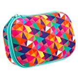 ZIPIT Colorz Pencil Case/Pencil Box/Storage Box/Cosmetic Makeup Bag, Colorful (Color: Colorful Triangles)