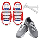 HOMAR Durable Kids Sports Fan Shoelaces - Best in No Tie Shoelace Replacement Accessories - Rubber Children Elastic Athletic Running Shoelaces Flat Shoe Laces for Sneakers Boots Oxford - White (Color: Kid Size White)