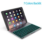 Keyboard Case Compatible with iPad PRO 9.7 Inch/iPad Air 2-LED 7 Colors Backlit Keyboard with 130° Folio Hard Back Cover, Aluminum Alloy- (for iPad Model: A1566/A1567/A1673/A1674) (Color: Space Gray, Tamaño: For iPad Pro 9.7 inch)