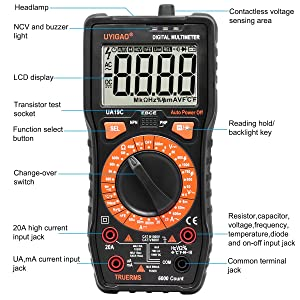 Electronic Digital Multimeter,UYIGAO Manual Portable Testing DC/AC voltage AC/DC Current Duty cycle Diode Amp/Ohm/Volt Tester Tool with LCD Display(UA-19C) (Color: Black, Tamaño: UA-19C)