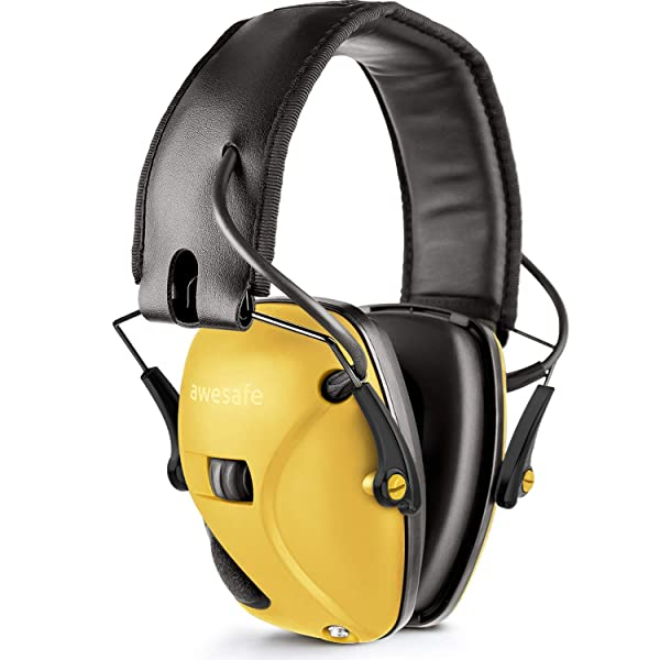 Awesafe Electronic Shooting Earmuff, Noise Reduction Sound Amplification Electronic Safety Ear Muffs, Ear Protection, NRR 22 dB, Ideal for Shooting and Hunting, Yellow . (Color: GF01 Yellow, Tamaño: Earmuffs)