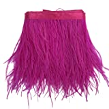 Sowder Ostrich Feathers Trims Fringe with Satin Ribbon Tape Dress Sewing Crafts Costumes Decoration Pack of 2 Yards(Fushia) (Color: fushia)