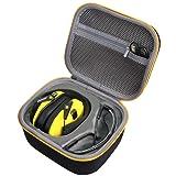 Hard Travel Case for Walker's Game Ear Walker Razor Slim Electronic Hearing Protection Muffs by co2crea (Black Case) (Black Case + Yellow Zipper) (Color: Black Case + Yellow Zipper)